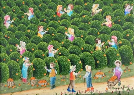 Le chemin dans l'orangeraie