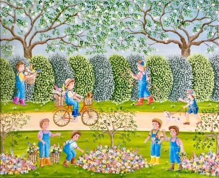 Dans le parc : la plantation des fleurs