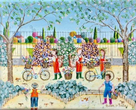 La préparation des vélos fleuris