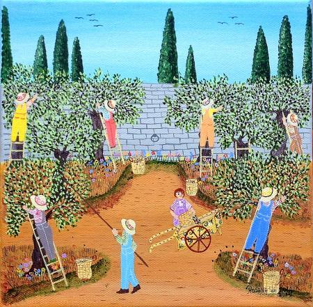 Les échelles : la cueillette des olives