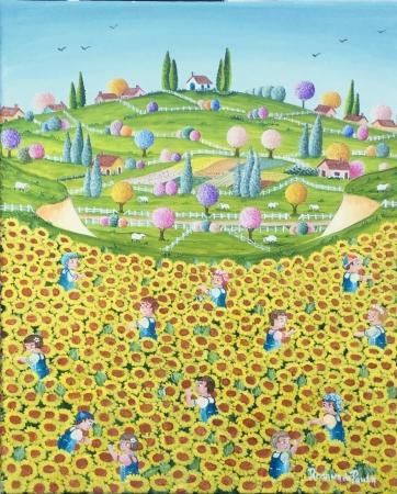 Dans le champ de tournesol : au-dessus de la vallé