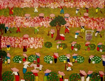 A colheita das rosas e das frutas
