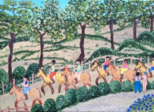 rosana cessac,peintures naïves,baie de somme,la maison bleue en baie,peinture naïve,rosana de paula cessac